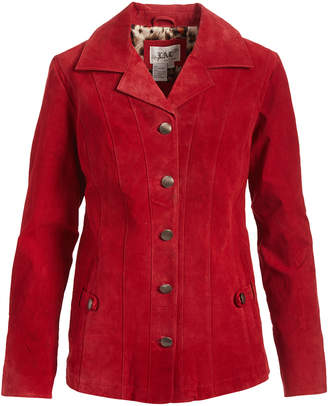 Live A Little Women's Leather Jackets RED - Red Button Washable Suede Jacket - Women