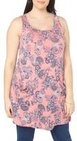 Evans Plus Size Women's Flower Print Sleeveless Swing Top