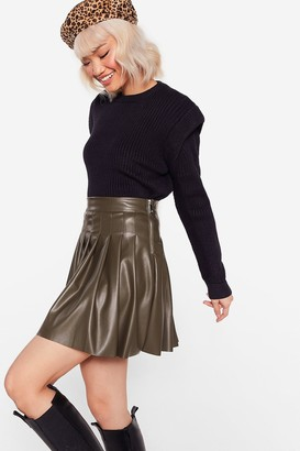 Nasty Gal Womens Pleat to Meet You Faux Leather Mini Skirt - Beige - S, Beige