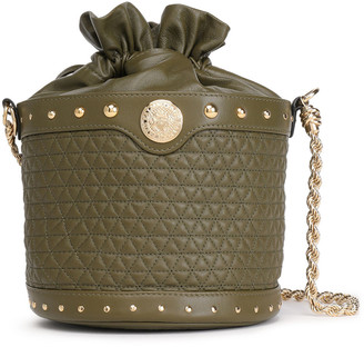 Balmain Renaissance Party Studded Quilted Leather Bucket Bag