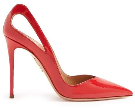Aquazzura Shiva 105 Patent Leather Pumps - Womens - Red