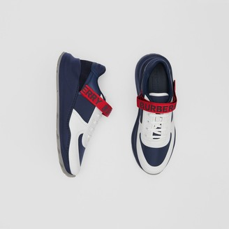 Burberry Logo Detail Leather and Suede Sneakers