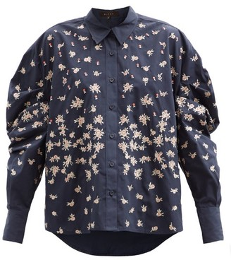 Biyan Shimea Floral-embroidered Cotton Blouse - Navy