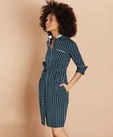 Brooks Brothers Striped Cotton Dobby Shirt Dress