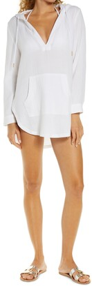 L-Space Caswell Long Sleeve Hooded Seersucker Cover-Up