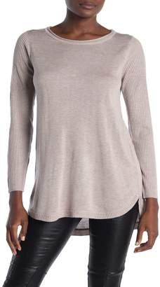 Magaschoni M Crew Neck Rib Knit High/Low Hem Sweater