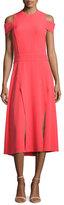 Halston Short-Sleeve Cold-Shoulder Midi Dress w/ Double-Slit Hem, Red