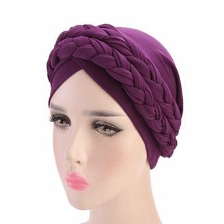 Wemiao Double Braid Turban Cap Chemo Cancer Turbans for Women Islamic Prayer Hats Head Wrap Cap Purple