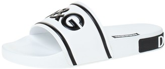 Dolce & Gabbana White Leather and Rubber Slides Size 41