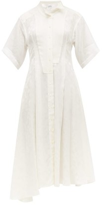 Loewe Feather Jacquard Asymmetric Satin Midi Dress - Womens - White