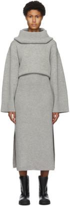 Kenzo Grey High Neck Mid-Length Dress