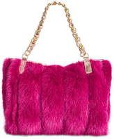 Betsey Johnson Lux Faux-Fur Medium Satchel with Chain Strap
