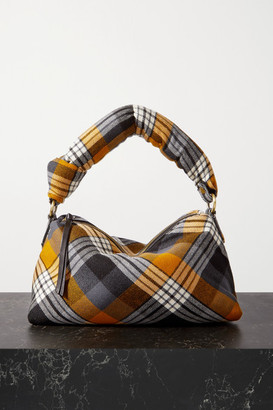 Dries Van Noten Pillow Medium Tartan Wool-blend Flannel Tote - Black