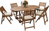 OUTDOOR INTERIORS Outdoor Interiors 7pc Eucalyptus Fold and Store Dining Set with Cushions