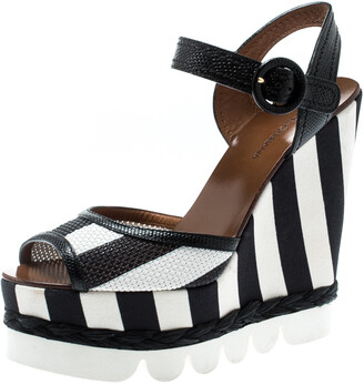 Dolce & Gabbana Monochrome Leather And Lizard Embossed Leather Ankle Strap Platform Wedge Sandals Size 39