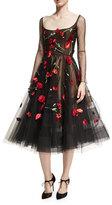 Oscar de la Renta Poppy-Embroidered Tulle Cocktail Dress