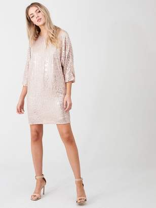 River Island Sequin Embellished Shift Dress-light Pink