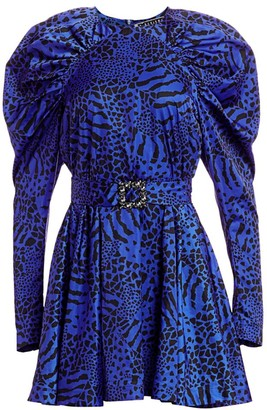 Rotate by Birger Christensen Tara Taffeta Zebra & Leopard Print A-Line Dress