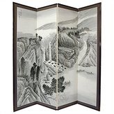 Oriental Furniture Asian Decor and Gifts, 72 by 72-Inch Misty Mountain Chinese Brush Art Floor Screen Room Divider