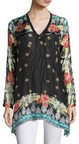 Johnny Was Fiesta V-Neck Long-Sleeve Printed Tunic, Plus Size