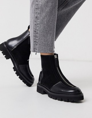 Grenson Zadie leather faux fur lined zip hiker boots in black