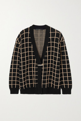 Mother of Pearl Net Sustain Blake Checked Organic Cotton-blend Cardigan - Black