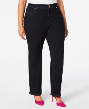INC International Concepts Inc Plus Size Straight-Leg Tummy Control Jeans, Created for Macy's