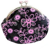 Aiklin Women's Coin Purse Money Pouch Vintage Style Wallet Clasp Metal Frame Purse