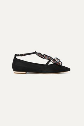 Sophia Webster Riva Appliqued Suede Point-toe Flats - Black