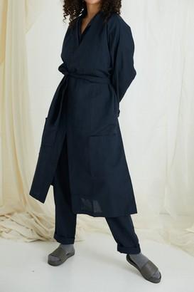 General Sleep Everyone Cotton-linen Robe - Navy
