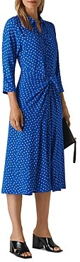 Whistles Selma Dot Tie-Waist Dress