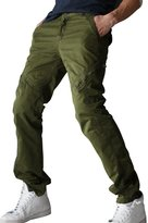 OCHENTA Men's Cotton General Washed Slim fit Twill Cargo Pant with Decorated Zipper