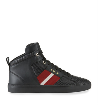 Bally Men's Hedern Trainspotting Croc-Embossed High-Top Sneakers
