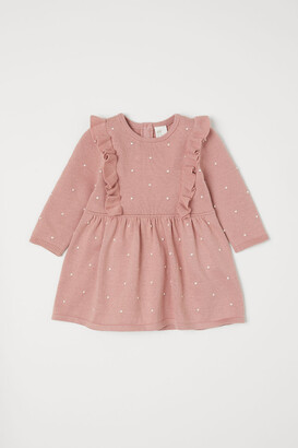 H&M Knitted dress with flounces