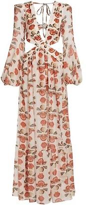 PatBO Seashell Puff-Sleeve Side Cutout Maxi Dress