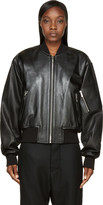 Juun.J Black Leather Sign Society Bomber Jacket
