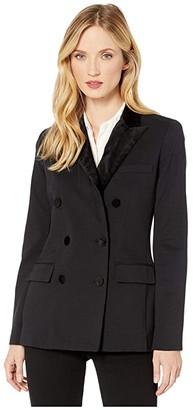 Lauren Ralph Lauren Velvet-Trim Ponte Blazer (Polo Black) Women's Clothing