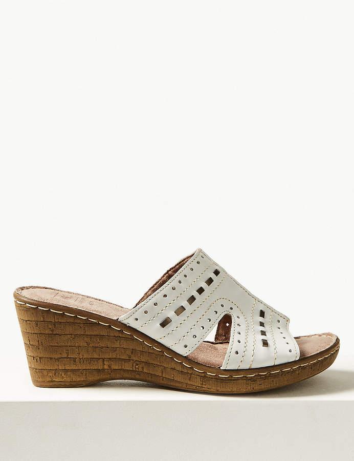 Leather Wedge Heel Sandals Fit Mule Wide 0PXN8nOwk