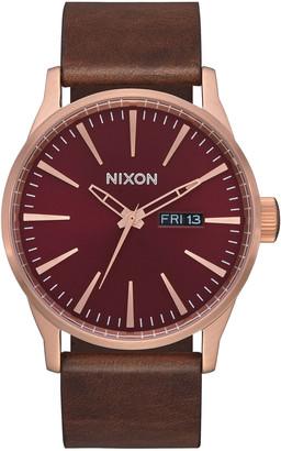 Nixon Sentry Leather Burgundy & Rose Gold Watch