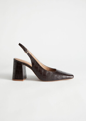 And other stories Croc Leather Block Heeled Pumps