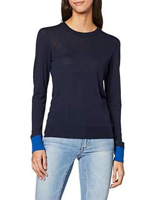 Benetton Women's Extra Fine Marino Wool Sweater in Colour Block Jumper,X-Large
