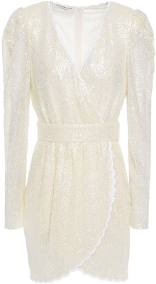 Philosophy di Lorenzo Serafini Wrap-effect Scalloped Sequined Stretch-mesh Mini Dress