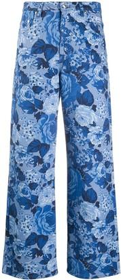 MSGM Rose-Print Straight Jeans