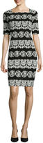 Tiana B Elbow-Sleeve Puff Print Sheath Dress