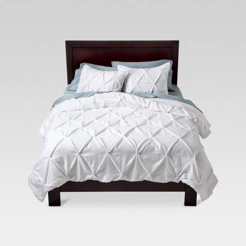 Threshold White Pinched Pleat Comforter Set (Full/Queen) 3pc