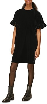 Whistles Velvet Frill Sleeve Dress