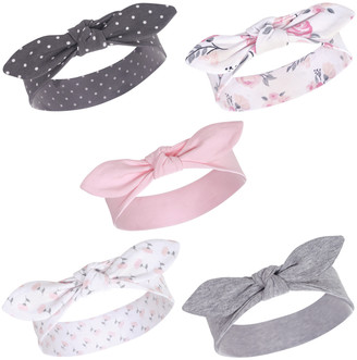 Luvable Friends Girls' Headbands Pink - Charcoal & Pink Floral Bow-Accent Headband Set