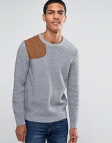Asos Textured Crew Neck Sweater with Hunting Patch