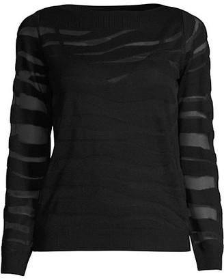 Milly Sheer Zebra Long-Sleeve Top