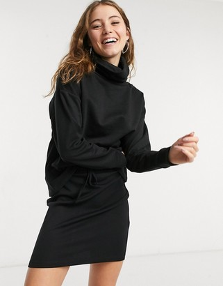 JDY sweatshirt with cowl neck in black